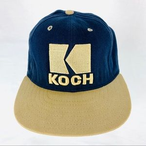 Koch Cap Hat Logo Leather Strap Adj USA Vintage